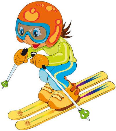 kind in ski Vector Illustratie