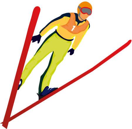 skier jumping: ski jumper