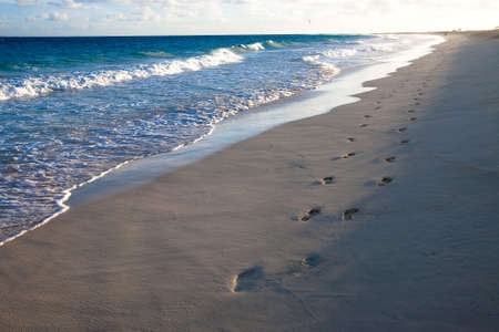 footprints on the beach of atlantic ocean (cape verde, sal island) at sunrise time photo