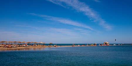 kiter: beach with small lagoon and kite spot in egypt, near hurhgada