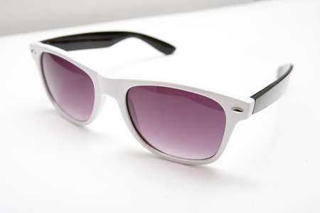 wayfarer: Close-up on colorful sunglasses on the white background