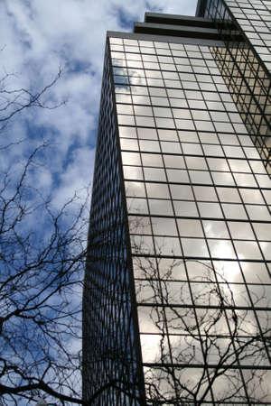 ガラスの反射の木と空の建物 写真素材