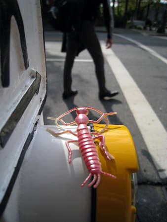 Toy bug watching a crosswalk Stock Photo