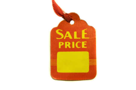 Sale price tag on white background with space to put a price.