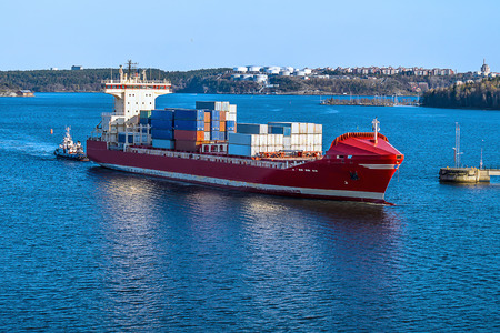 Cargo Container Ship Side View photo