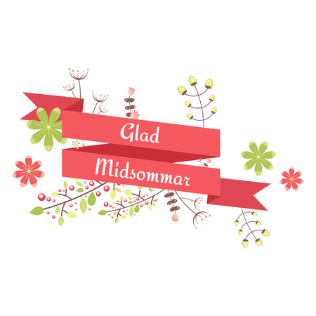 Fully Editable - Happy Midsummer Ornament Ribbon Illustration
