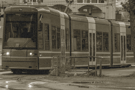 electric tram: Electric tram in Stockholm, Sweden Editorial
