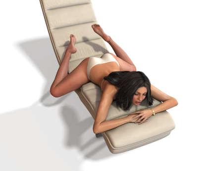Beautiful young woman posing on the sofa