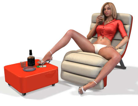 erotic: Attractive drunk girl sitting on the couch