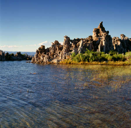 lee vining: Mono Lake tufa in the afternoon Stock Photo
