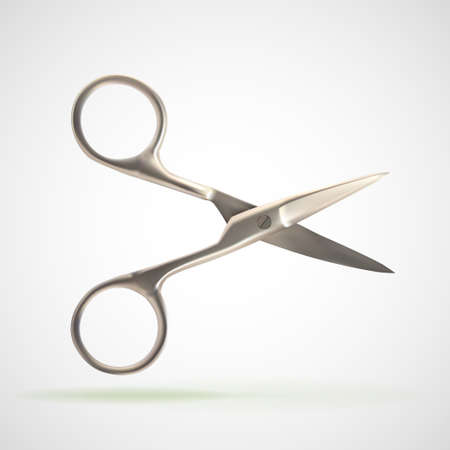 nail scissors: Pair of chrome metal nail scissors, eps10 vector composition