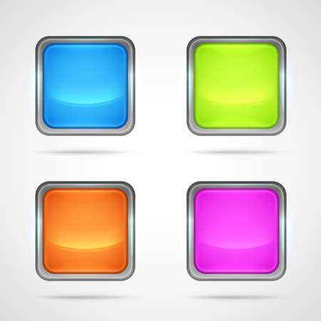 shiny buttons: Set of four shiny square buttons with metal edging, eps10 vector