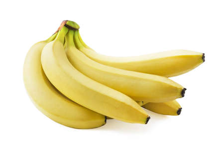 spotless: Bunch of fresh spotless yellow bananas isolated over white background