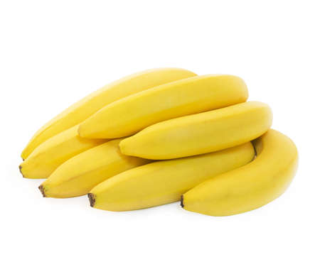 Bunch of fresh spotless yellow bananas isolated over white background photo