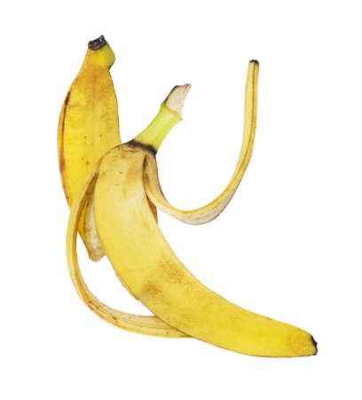 Blotched banana peel isolated over white background photo