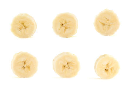 Six banana slices set isolated over white background Stock Photo