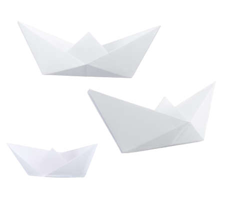 Three paper boats isolated over white background