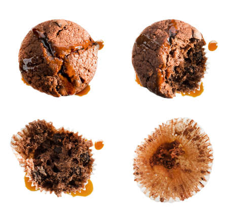 Eating syrup covered chocolate muffin in four steps, isolated on white