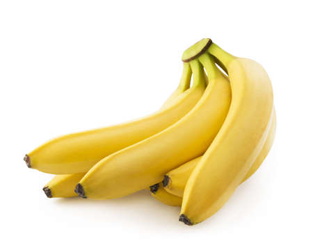 Bunch of fresh spotless yellow bananas isolated over white background