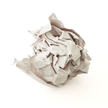 Crumpled gray paper ball isolated over white background Stock Photo