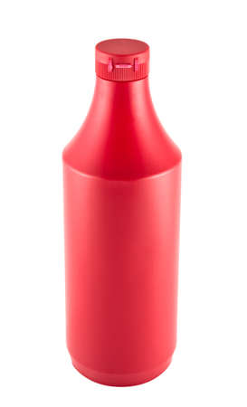 Ketchup souce platic bottle isolated over white background photo
