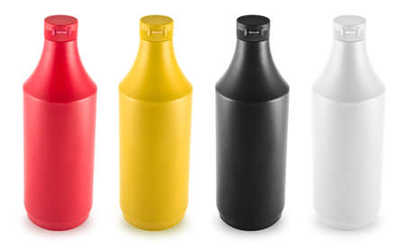 Ketchup, mustard, mayonnaise and soy souce bottles isolated over white background photo
