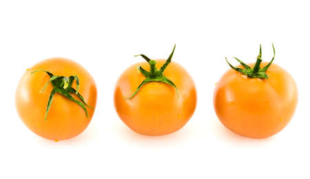 Three fresh yellow tomatos in different foreshortenings covered with water drops isolated over white background