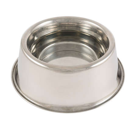 Pets dog steel metal glossy bowl filled with water isolated over white background Stock Photo