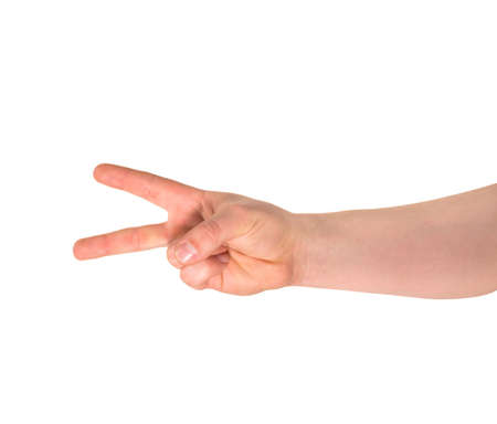Counting: two finger sign as caucasian hand gesture isolated over white background photo
