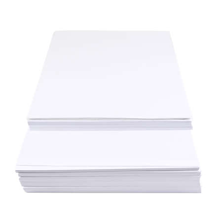 unorganized: Stack of a4 size white paper sheet isolated over white background