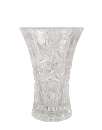 Crystal vase glass vessel isolated over white background photo