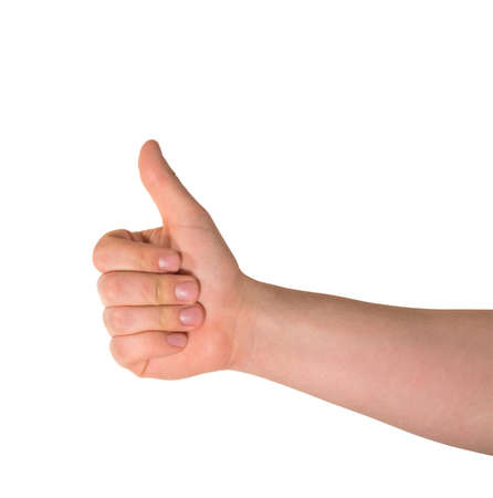Approval thumbs up like sign as caucasian hand gesture isolated over white background photo