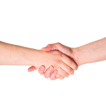 compromise: Compromise deal handshake caucasian hand composition isolated over white background Stock Photo