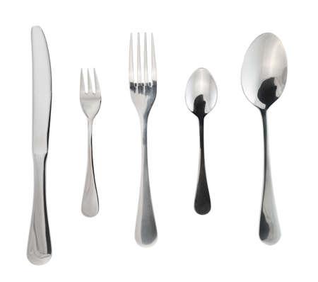 Besteck Besteck oder Besteck-Set von Gabeln, Löffel und Messer isoliert auf weißem Hintergrund