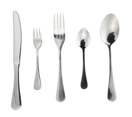 Cutlery silverware or flatware set of forks, spoons and knife isolated over white background Stock Photo
