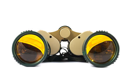Binocular field glasses isolated over white background photo
