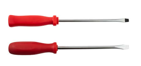 Two screwdrivers with the red handle isolated over white background photo