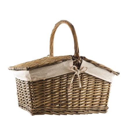 hamper: Picnic basket hamper isolated over white background