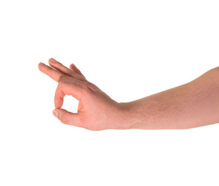 Everything is fine caucasian okay hand gesture isolated over white background Stock Photo - 20225726
