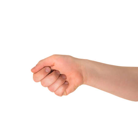 Reaching out fist held caucasian hand gesture isolated over white background photo