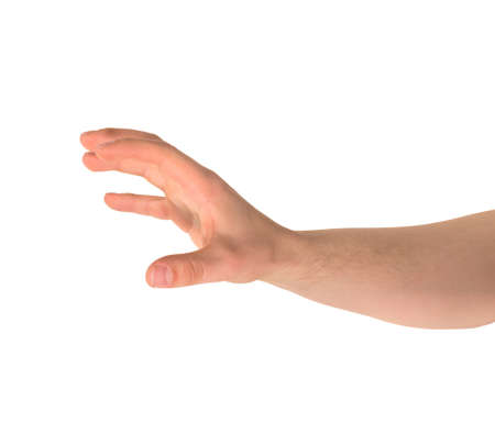 Reaching out and grabbing caucasian hand gesture isolated over white background Stock Photo