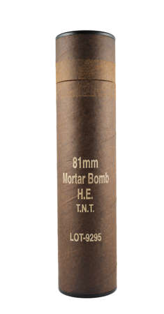 Mortar bomb tube brown paper container isolated over white background photo