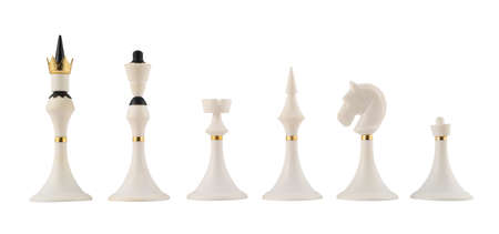 Set of white chess figures isolated over white background