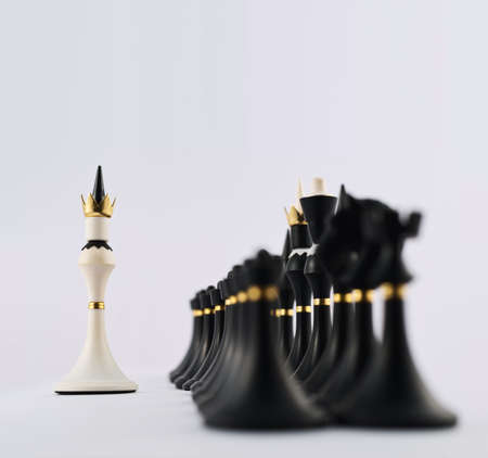 Negotiations concept as white chess king figure opposite to the black ones composition photo
