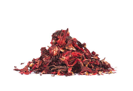 Pile of dried red -tea leaves isolated over white background