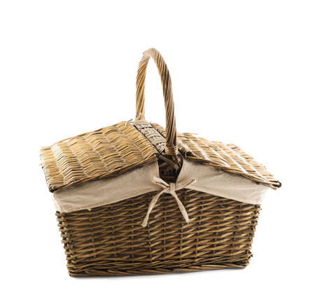 Picnic basket hamper isolated over white background