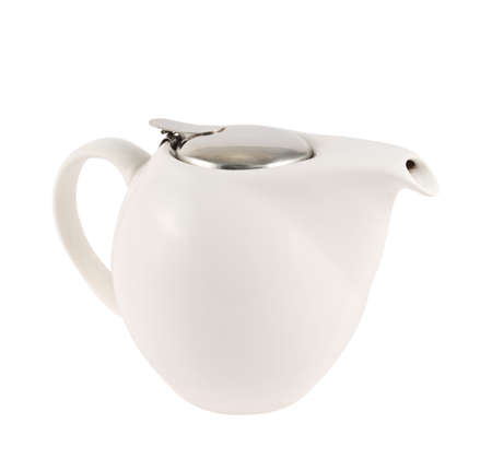 Ceramic teapot with a metallic cover lid isolated over white background Stock Photo - 20464316