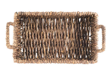 hand basket: Brown wicker basket, box shaped, isolated over white background, top view Stock Photo