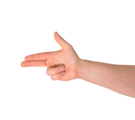 Pointing pistol-like handgun caucasian hand gesture isolated over white background photo