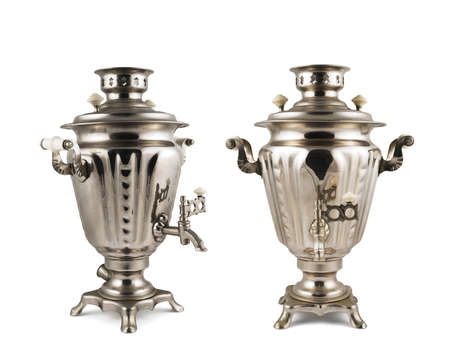 Old russian samovar metal water boiler isolated over white background, set of two foreshortenings photo